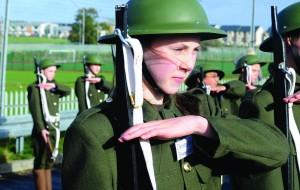 Pupil Naoise Mc Bride representing fallen soldier